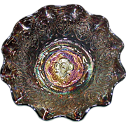 Fenton Persian Medallion Carnival Glass Bowl, Amethyst, 8""