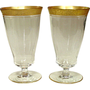 Tiffin Glass, Rambling Rose, Footed Iced Tea Tumbler, Pair