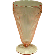 Jeannette Glass, Homespun, Footed Tumbler, Pink, 1939-49