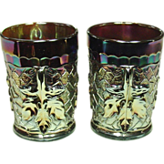 Carnival Glass Tumblers,  Dugan Glass, Maple Leaf, Amethyst, 1910