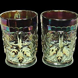 Carnival Glass Tumblers,  Dugan Glass, Maple Leaf, Amethyst, 1910