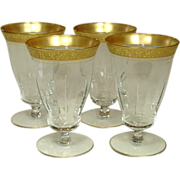 Tiffin Glass, Rambler Rose, Gold Encrusted Rim, Footed Juice, Four