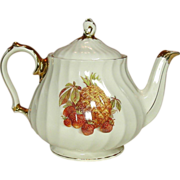 Sadler Teapot, Gilt Trim Swirl Body with Fruits Decal