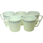 Pyrex, U.S.A., Coffee Mugs, Snowflake Blue, 1970's