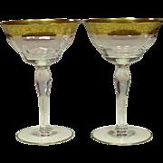 Tiffin Glass, Rambler Rose, Champagne / Tall Sherbet, Pair - #2