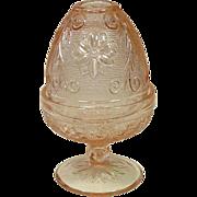 Indiana Glass, Tiara Sandwich Fairy Light Lamp, Candle Holder, Votive, Pink, 1970's