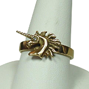 Unicorn Ring, 14K, Diamond Eye, Size 8 1/2, 4.68 grams