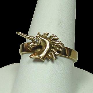 Unicorn Ring, 14K, Diamond Eye, Size 8 1/2, 4.68 grams