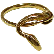 Snake Ring, 14K Gold, size 8 1/2, 4.68 grams, Delicate Design