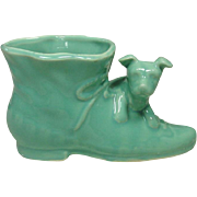 Mid-Century Pottery Planter, Puppy and Shoe, USA