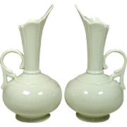"Vintage White Porcelain Ewer Shaped Vases, 7 1/2"", a Pair"