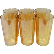 Jeannette Glass, Iridescent Tumblers, Vertical Ribs, Marigold, 1940s, Six