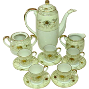 Made in Japan, Demitasse Tea Set, Handpainted, Gilt, Porcelain