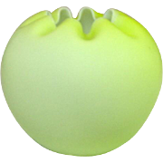 Mt. Washington Cased Satin Glass Rose Bowl, Lime Green over White, 5 1/2""