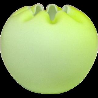 "Mt. Washington Cased Satin Glass Rose Bowl, Lime Green over White, 5 1/2"""