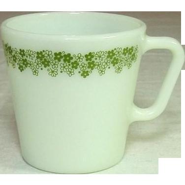 Pyrex USA, Spring Blossom, Green, Coffee / Tea Mugs, 1970's
