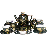 Handpainted, Gilt on Black, Craftsman China, Japan, Tea Set, 1950's