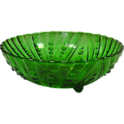 Anchor Hocking Forest Green Footed Bowl, Oyster and Pearl Pattern, 1940's, 8.5""