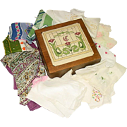 Vintage Hankies, Silk Scarf, in Felt Lined Wood Box - Red Tag Sale Item