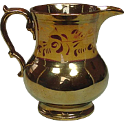 "Copper Lustreware Pitcher, Staffordshire, 19th Century, 5"", Excellent"