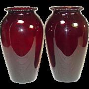 "Depression Glass, Anchor Hocking, Royal Ruby, 9"" Vase, Pair, 1938-40"