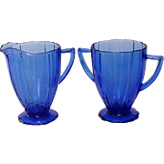 "Depression Glass, Newport or ""Hairpin"", Cobalt Creamer and Sugar, Hazel-Atlas"