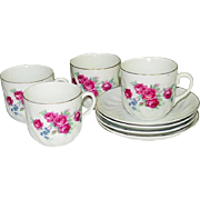 Early 20th Century, Red Roses Cups and Saucers, Germany mark