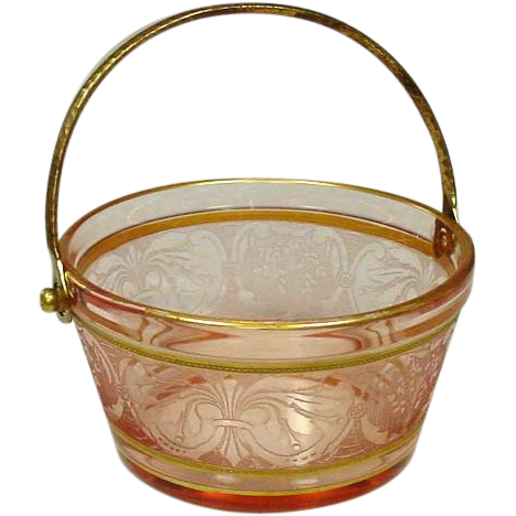 Pink Depression Glass, Etched Whip Cream Pail, Fostoria Glass