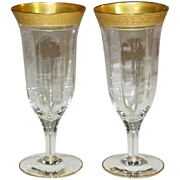 Tiffin Glass, Valencia Pattern, Gold Encrusted, Optic, Parfait / Tall Champagne