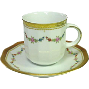 Tirschenreuth, Bavaria, Made in Germany, Petite Rose Demitassee Cup and Saucer