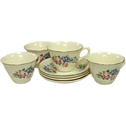 Universal Potteries, Camwood Ivory, Roses and Violets, Cups and Saucers