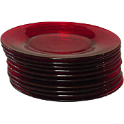 """Duncan and Miller Glass, Ruby-Red, 6 3/4"""" Plates, set of 10 - Red Tag Sale Item"""