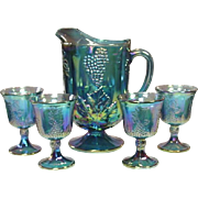 Indiana Glass, Harvest Grape, Pitcher and 4 Goblets, 1971, original box