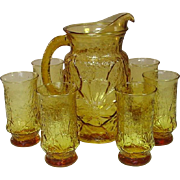 Rainflower, Honey Gold, Pitcher and Tumblers, Anchor Hocking USA, Mid-Century
