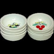 Westmoreland Glass, Beaded Edge, Fruit Decoration, Fruit Bowls, 1950's