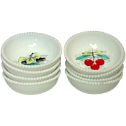 Westmoreland Glass, Beaded Edge, Fruit Decoration, Fruit Bowls, 1950's