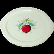 "Westmoreland Glass, Beaded Edge, Fruit Decoration, 12"" Oval Platter, 1950's"