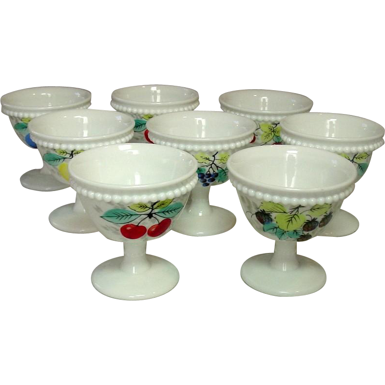 Westmoreland Glass, Beaded Edge, Fruit Decoration, Footed Sherbets, 1950's