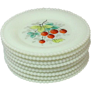 Westmoreland Glass, Beaded Edge, Fruit Decoration, Bread and Butter Plates, 1950's