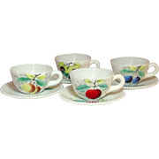 Westmoreland Glass, Beaded Edge, Fruit Decoration, Cups and Saucers, 1950's