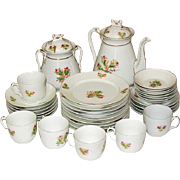 C. H. Haviland China, Moss Rose, Pink, Gold Trim, Tea Pot +, 29 pcs.