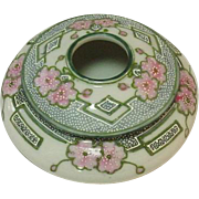 Nippon Hair Receiver, Handpainted Porcelain, Moriage Decoration, Green Maple Leaf Mark