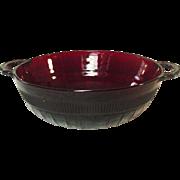 Hocking Glass, Coronation Pattern, Large Berry Bowl, handled, Royal Ruby, 1936-40