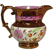 Copper Lustreware Pitcher, Staffordshire, 19th Century, Handpainted Pink Lustre Trim