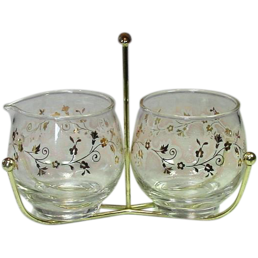 Libbey Glass, Cream & Sugar Set in Metal Holder, Mid-Century