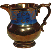 "Copper Lustreware Pitcher, Staffordshire, 19th Century, 4 1/4"", Handpainted"
