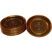 Vintage Copper Coaster Set ~ A.A.S.R. 1852-1952 Commemorative Set