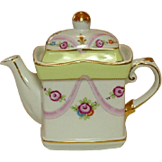 Vintage Royal Danube Teapot, circa 1980, Handpainted Roses and Gilt Trim