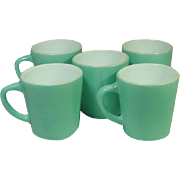 Vintage, Fired on Color, Coffee Mugs, Five Pieces
