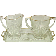 Jeannette Glass, Anniversary Pattern, Creamer, Sugar, Tray Set